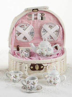 Children's Porcelain Tea Set for 2-Pink Butterfly in White Picnic Basket #8097-6