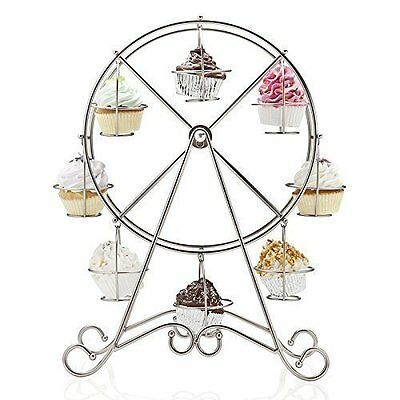Silicone Bakeware Ferris Wheel Design Cupcake Holder and Stand, Silver, 33x10x33