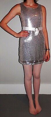 Tag 1080 Costume Dance Recital Dress White Silver Sequin Lyrical Jazz Adult M
