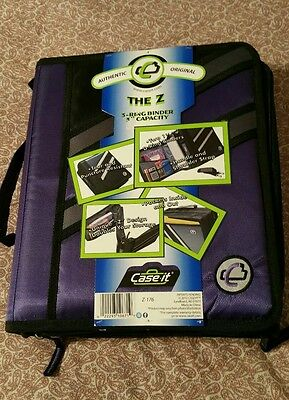 """Case-it The Z double sided binder purple 3"""" 3ring NWT"""