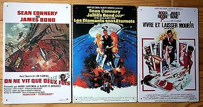 JAMES BOND 007 Lot 3 Plaques Murales Affiche Metal Tole Emaillée
