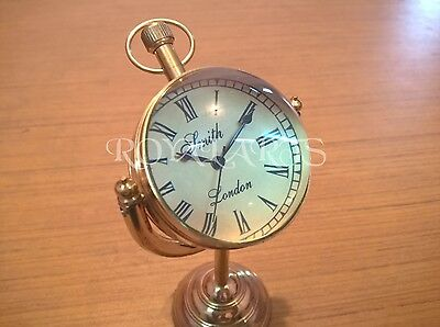 Antique Brass Desk Clock Vintage Collectible Home Decor Gift