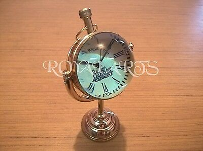 Antique Brass Desk Clock Vintage Collectible Home Decor Gift Item