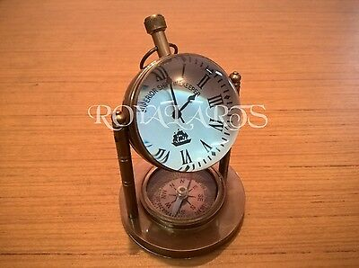 Antique Nautical Brass Desk Clock With Compass Vintage Collectible Decor Item