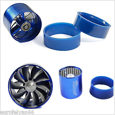 Blue 55mm Alloy Car Single Fan Fuel Gas Saver Supercharger Turbine Turbo Charger