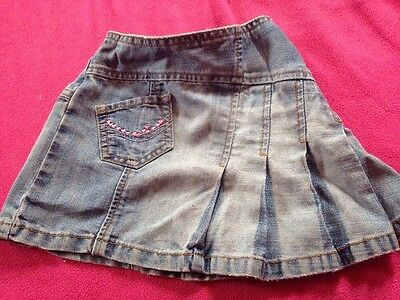 Trendy Pleated Denim Look Next Skirt With Pink Hearts Size 12-18 Months Girls