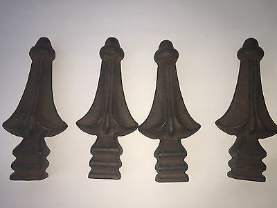 "Decorative Finials, Set of 4 Antique Finish Cast Iron, 5.5"" Tall"