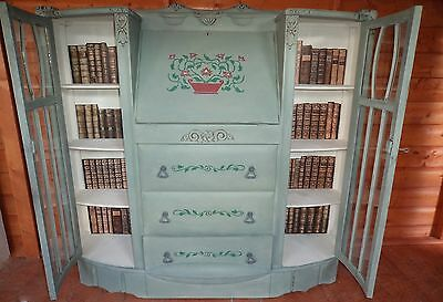 Bespoke bureau writing computer desk bookcase, with drawers painted shabby chic