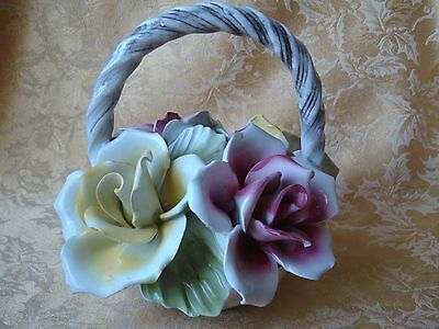 Vintage Capodimonte Porcelain Pink and Yellow Rose Flowers Basket Arrangement
