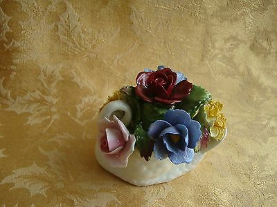 Vintage Aynsley Bone China Bouquet of Flowers In A SWAN VASE, England