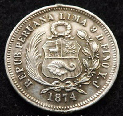 1874 Peru Silver 1/5 Sol Large Old Coin
