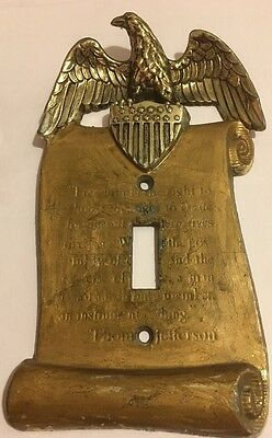 Vint Brass Plate Freedom Eagle Thomas Jefferson Single Wall Switch Cover*
