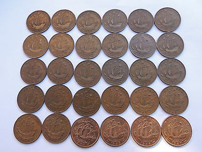 FULL DATE RUN OF 30 SHIP HALF PENNY COINS (1937 -1967) Ref Bx