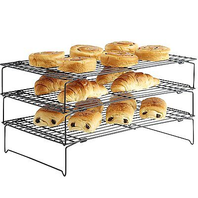 3 Tier Stackable Cooling Rack Tray System Non-Stick