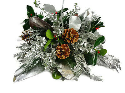 Fresh Pine Centerpiece, Frosted, Silver, DIY christmas, prepined centerpiece