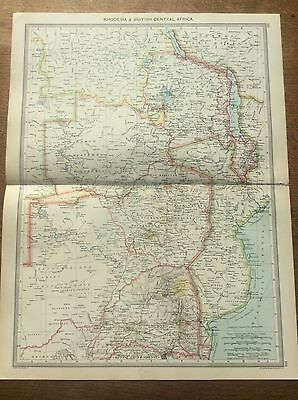 Antique 1904 colour map Rhodesia & British Central Africa Harmsworth ATLAS