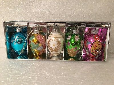 NIB Joan Rivers Faberge Russian Inspired 2011 Egg Ornaments Silvertone 5 Pc Set
