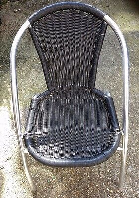 Aluminium Chrome Bistro Chair Outdoor Garden Patio Seating Stacking Black Wicker