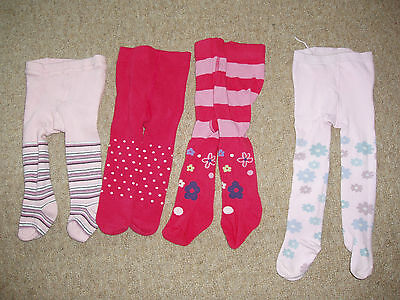4 Pairs of Baby Girl's Tights - 0-6 Months (Incl. NEXT)