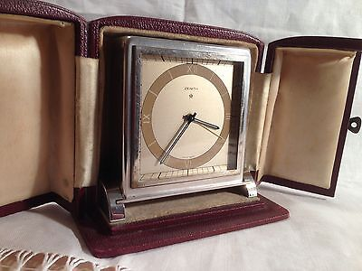 Vintage Art Deco  Zenith Silver Plate/ Chrome 8 Day Alarm Clock.