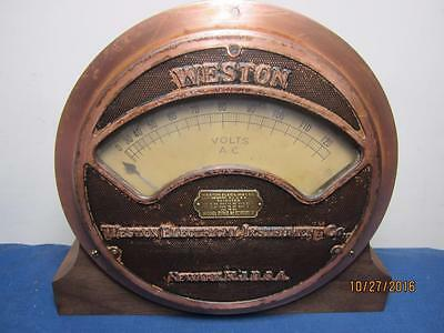 Professionally Mounted Weston Electrical Instrument Co Voltmeter Mod. 261