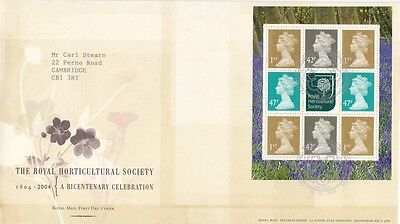 2004 Royal Horticultural Society Prestige Stamp Book Pane - Tallents House H/S F