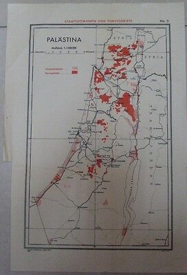 Judaica Old Palestine Map 1937 State Domains Ans Forestry Areas