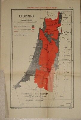 Judaica Old Palestine Map 1937 Agricultural Land