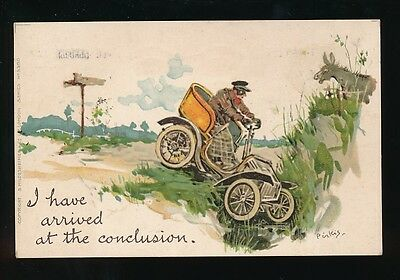 Comic early motoring crash artist Pirkis used 1914 PPC