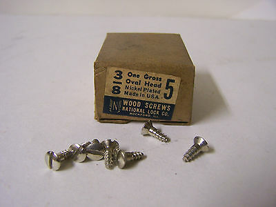 "#5 x 3/8"" Oval Head Nickel Plated Steel Screws Slotted Made in USA  Qty. 144"