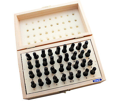36 PC STEEL LETTER & NUMBER STAMP 2mm IN WOOD BOX JEWELRY MARKING STAMPING PUNCH