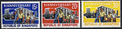Singapore. 1966.  First Anniversary of Republic.  SG89-91.  Mint.