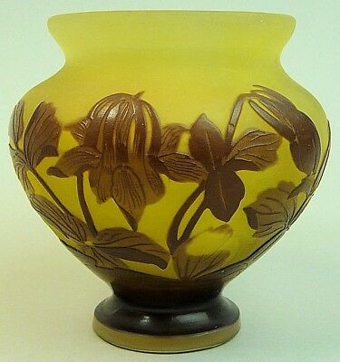A Fine Galle French Cameo Art Glass Vase Columbine C.1900
