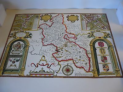 Old Antique County map of  Buckinghamshire by John Speed 1611, 51  X 64cm  repro
