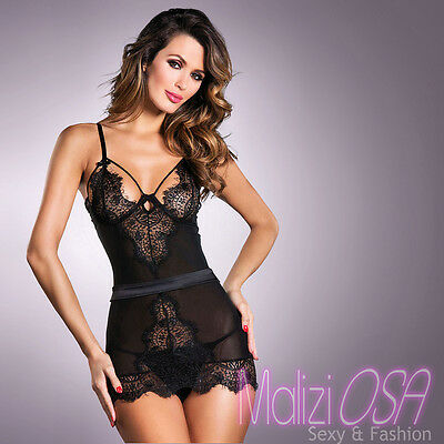Babydoll Chemise Nero Sexy Pizzo Tulle Hot Lingerie Negligé Perizoma Intimo