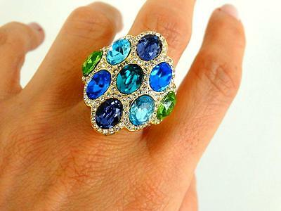 Gorgeous Vtg Akkad Couture Exotic Mogul Sapphire Emerald Crystal Cocktail Ring