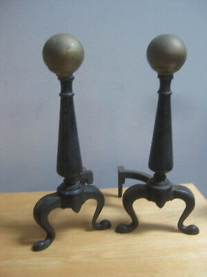 2 Vintage Cast Iron & Brass Fireplace Andirons 17 Inch With Stands Ball Top