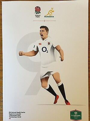 BRAND NEW ENGLAND V AUSTRALIA OLD MUTUAL Series Rugby Union Programme - 03/12/16