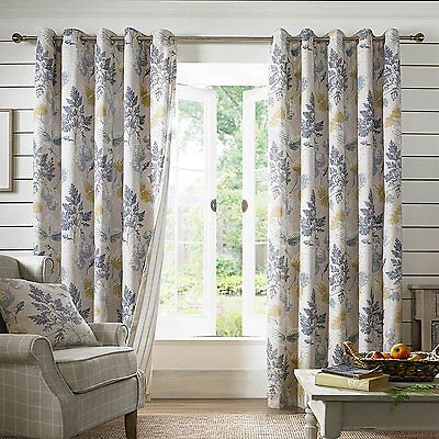 Sycamore Teal Blue Eyelet Ring Top Fully Lined Ready Made Curtains