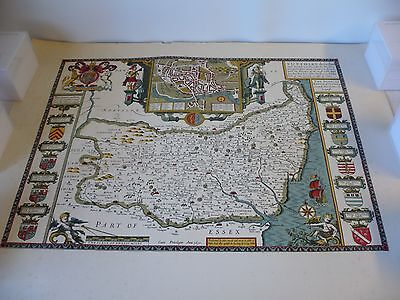 Old Antique County map of Suffolk by John Speed 1611, 51  X 64cm  reproduction