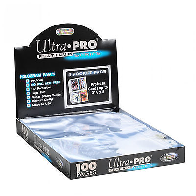 100 ULTRA PRO PLATINUM 4-POCKET Pages 3 x 5 Sheets Protectors Brand New