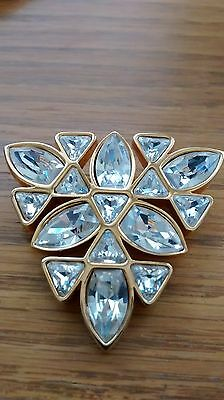 Vintage S.A.L.  triangle shape Pin Broach,Crystals , Gold-tone