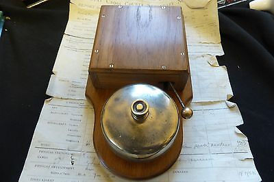 Large Restored Art Deco Wood & Brass Electric Doorbell 5-9 volts (butlers maid)