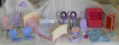 Barbie Mattel Mixed Lot Furniture Luggage Blankets Salon Chairs Fan TV Food Tray