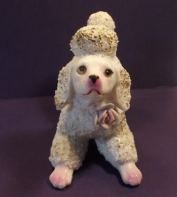White Poodle Figurine Vintage - Gold Poofy Hair - Pink Tipped Paws