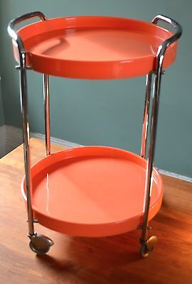 Vintage/retro 1970's Chrome And Plastic Drinks Trolley
