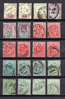 EVII Edward VII Collection of used definitive stamps in shades town city cancels