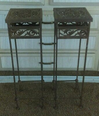 Unique Antique Pair of Wrought Iron Plant Stands Vintage
