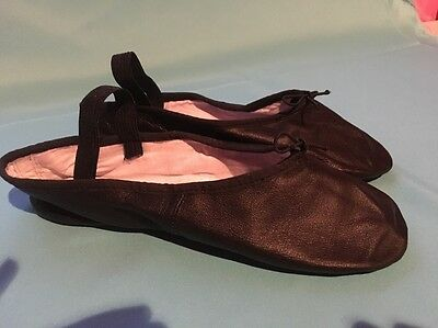 Black Leather Ballet Slippers Shoes Women's 7.5 New
