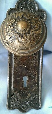 Vintage Wrought Brass or Bronze Doorknob Set - 2 knobs - 1 Shaft, plus 1 Plate
